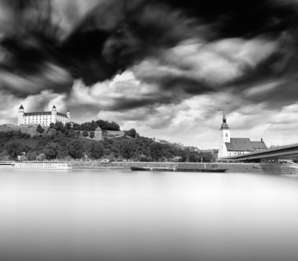 Cityscape of Bratislava, Panorama at Danube River - B&W Architecture Fine Art Series