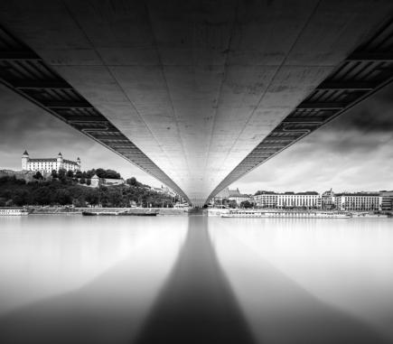 Bratislava Castle and New Bridge - B&W Architecture Fine Art Series