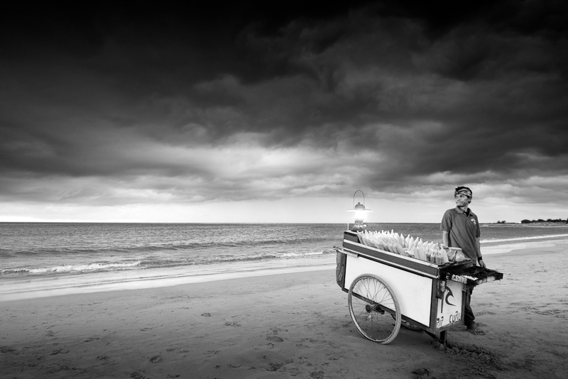 The salesman at the beach bali bw people fine art series