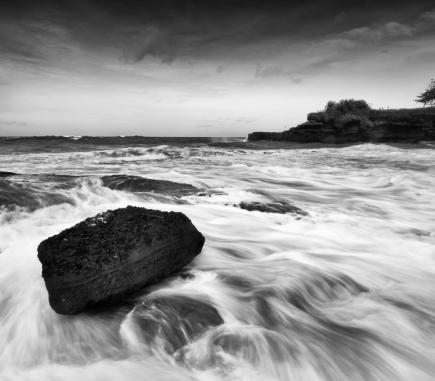 Waves at Tanah Lot, Bali - B&W Landscapes - Seascapes Fine Art Series