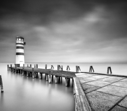 Lighthouse in Podersdorf am See, Austria - B&W Landscapes - Seascapes Fine Art Series