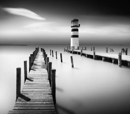 Lighthouse in Podersdorf am See II, Austria - B&W Landscapes - Seascapes Fine Art Series