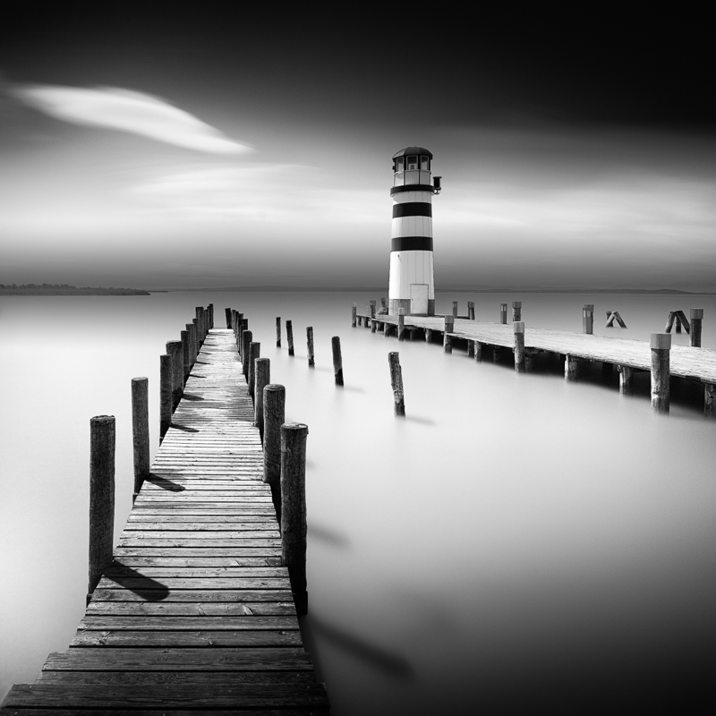 Lighthouse in podersdorf am see ii austria bw landscapes seascapes fine art series
