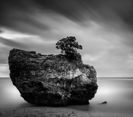 Giant Rock at Padang – Padang Beach, Bali - B&W Landscapes - Seascapes Fine Art Series