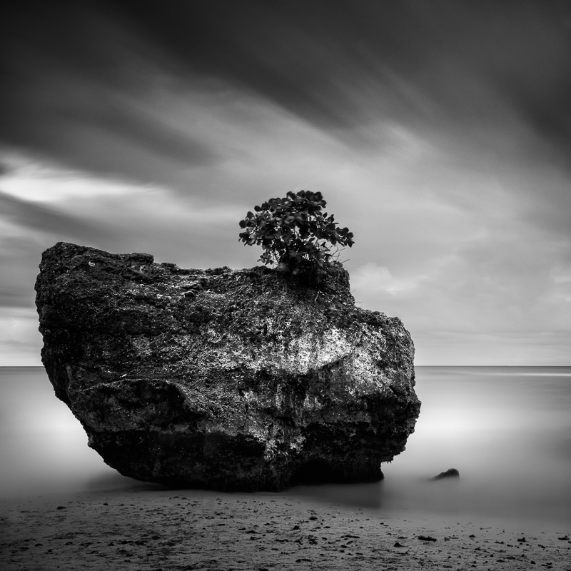Giant rock at padang padang beach bali bw landscapes seascapes fine art