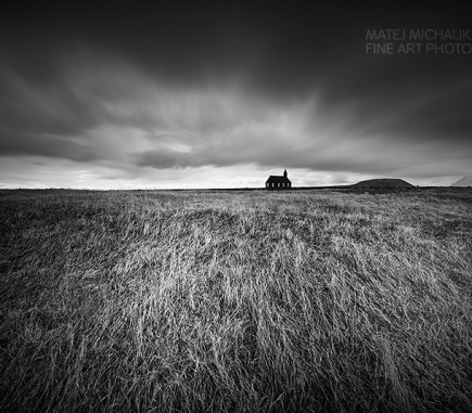 Church near Budir, Iceland - B&W Seascapes/Landscapes Fine Art Series