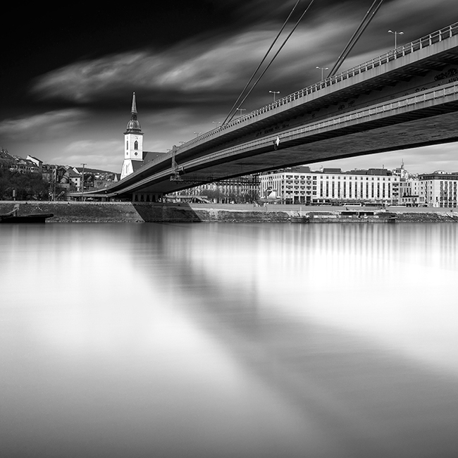 Black and white photos of the New Bridge in Bratislava, Slovakia