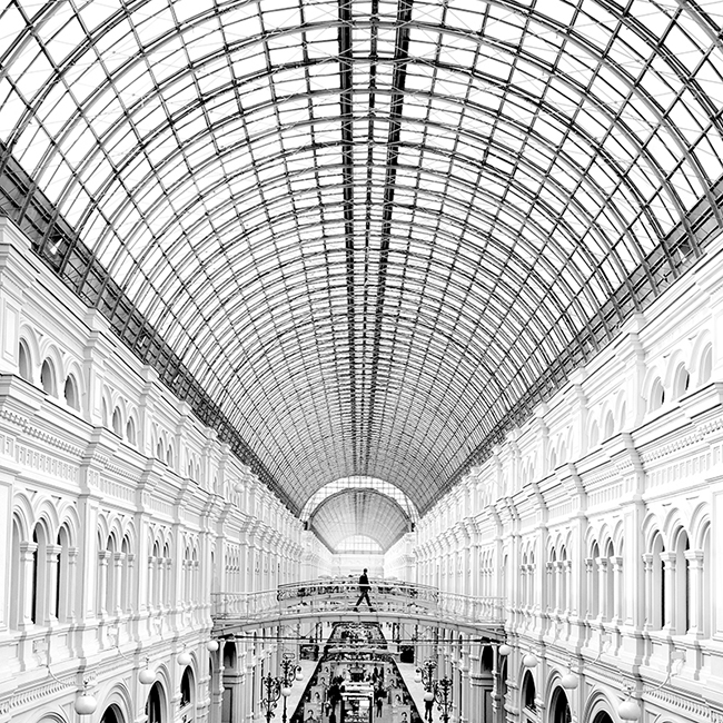 Black and white photo of GUM, Moscow