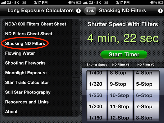 How to calculate exposure time using Iphone app.