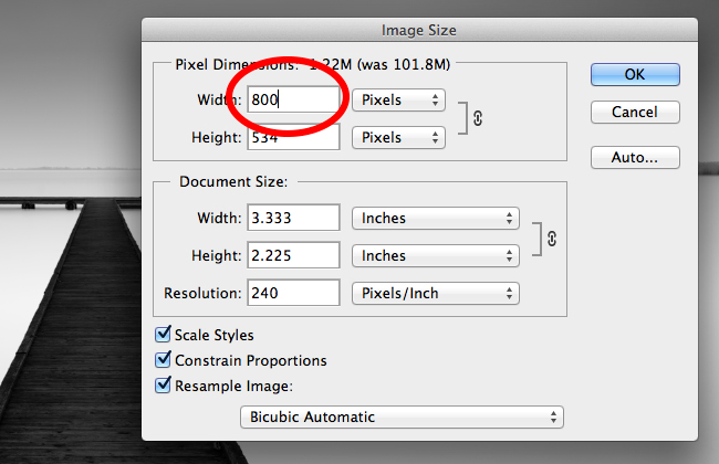 Reducing photo size to 800 pixels