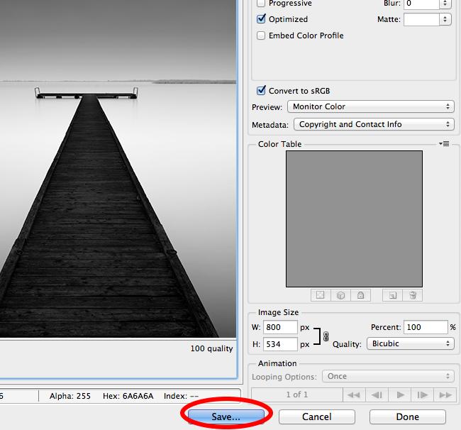 Saving photo for web usage