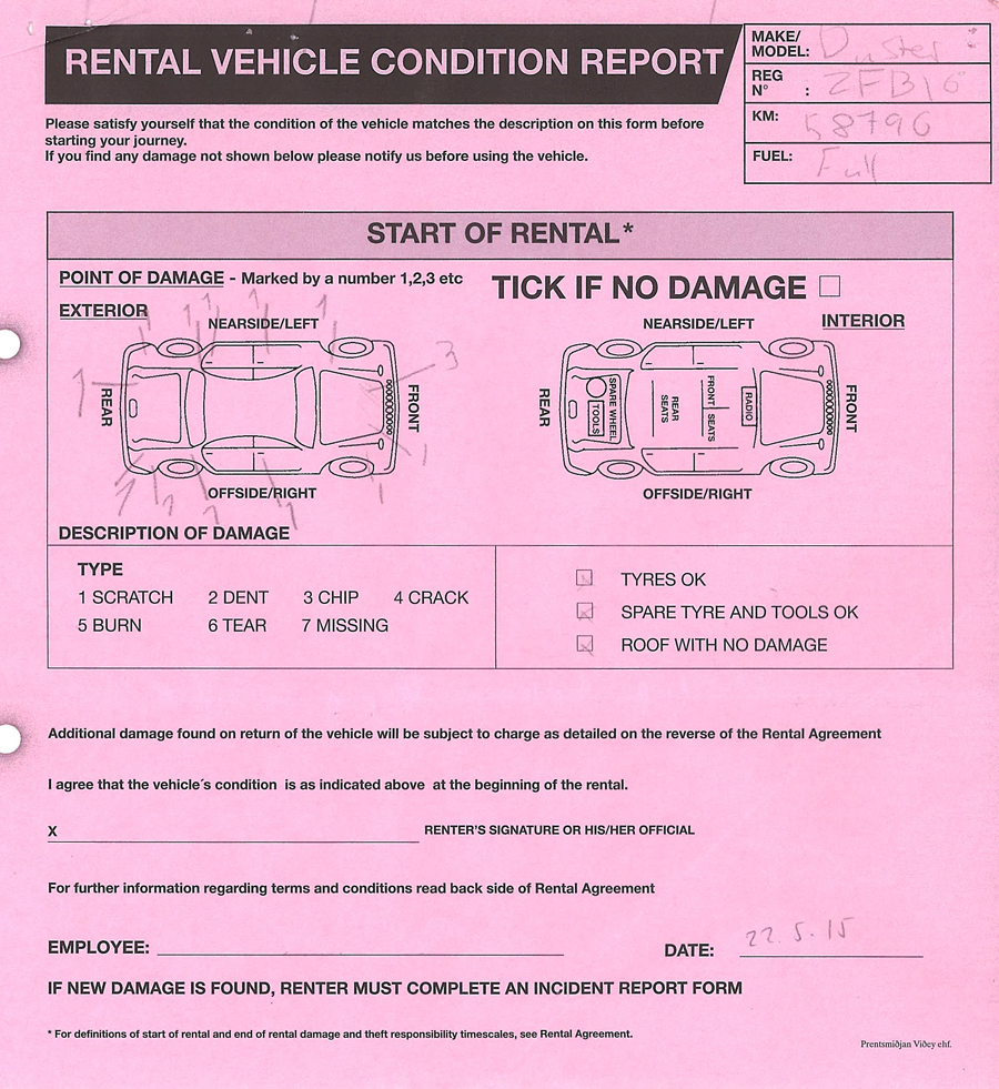Rental vehicle condition report