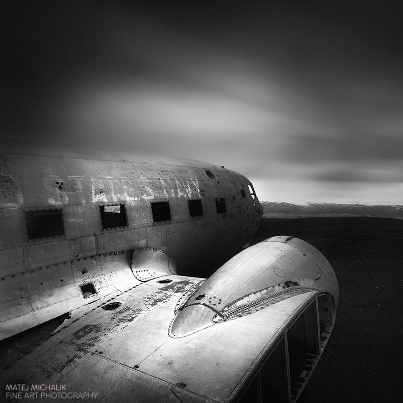 Airplane Wreckage, Iceland - B&W Seascapes/Landscapes Fine Art Series