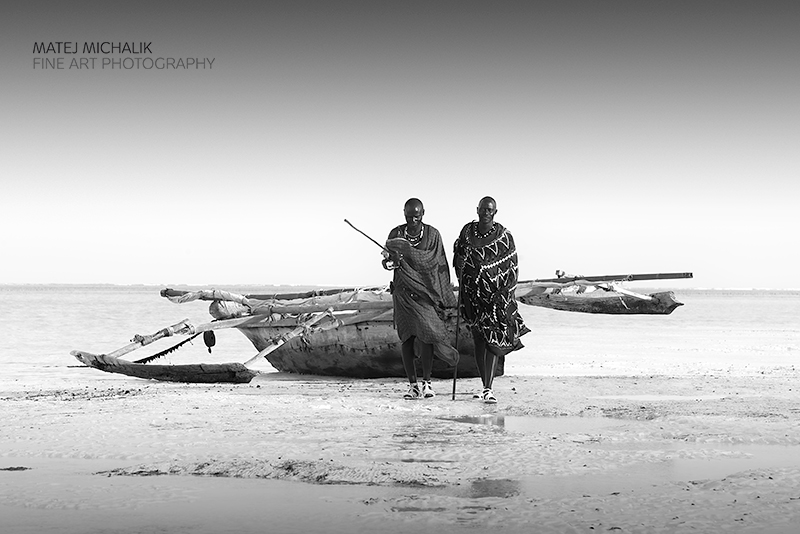 Maasai friends zanzibar bw people fine art series