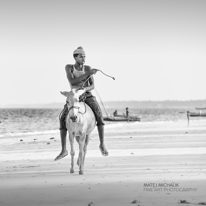 Donkey ride zanzibar bw people fine art series