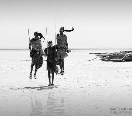 Maasai Jump, Zanzibar - B&W People Fine Art Series