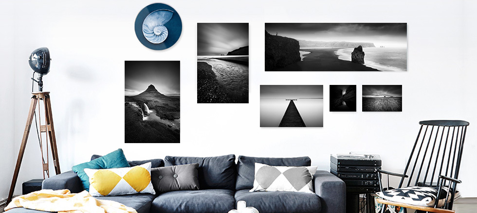 Acrylic glass - Black and White pictures in the living room