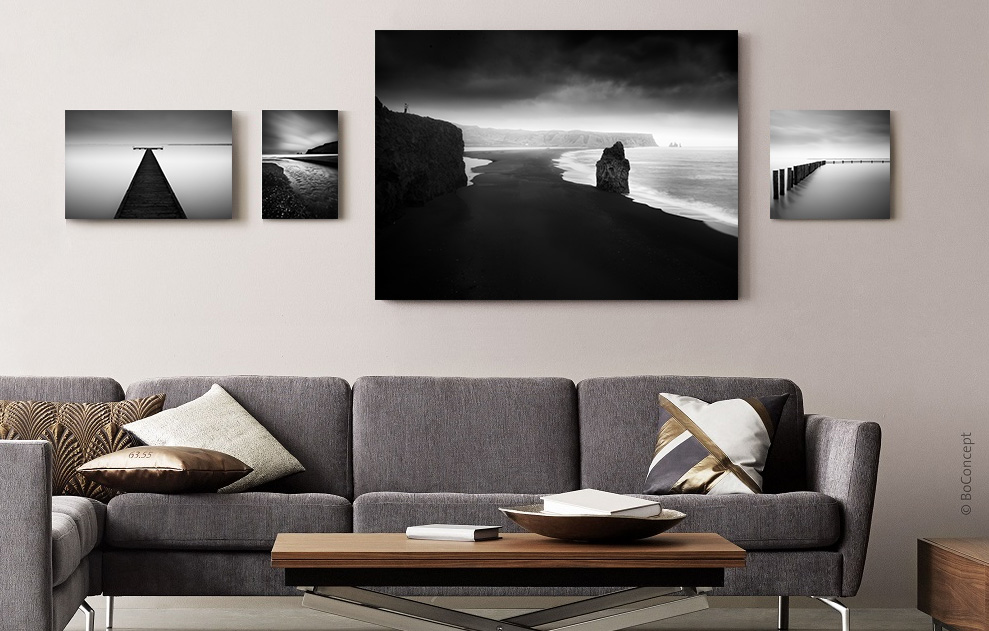 BW Prints on Canvas in Living Room